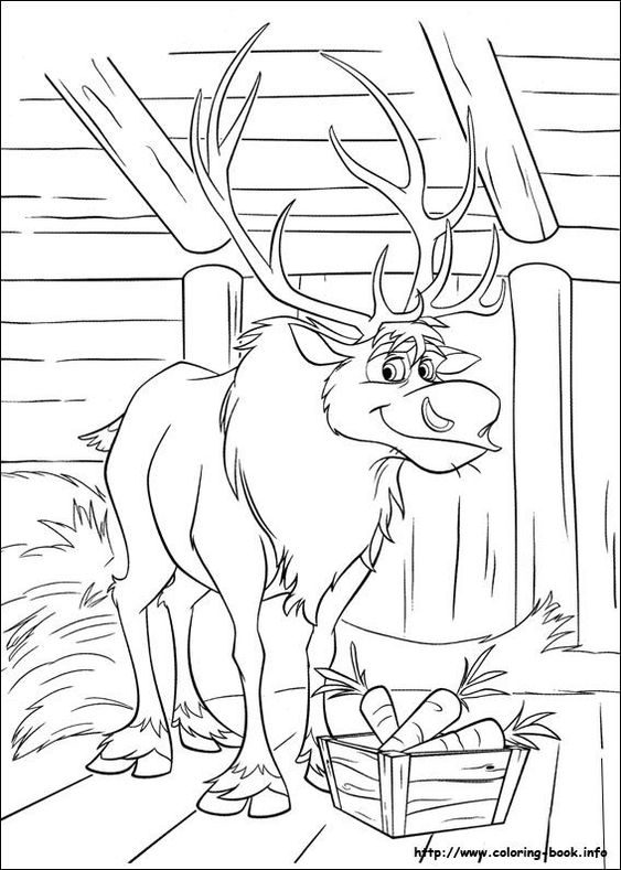 frozen let it go coloring pages - Sven Reindeer Coloring Pages