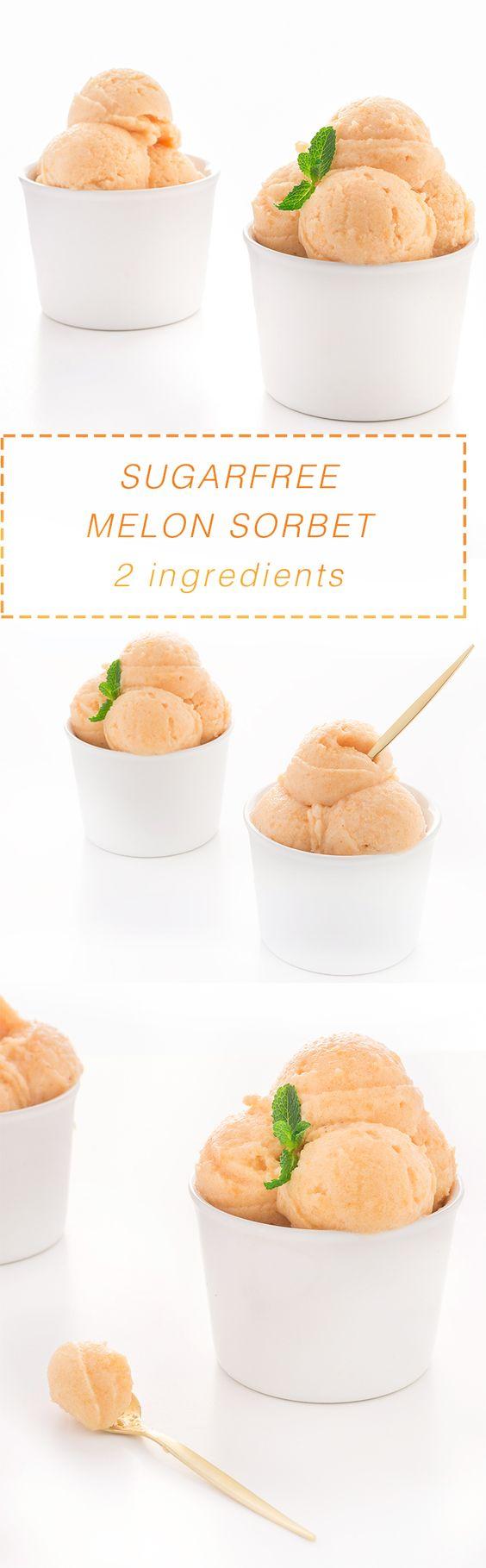 recipe sugarfree vegan melon sorbet - ricetta sorbetto al melone senza zucchero 2 ingredienti light