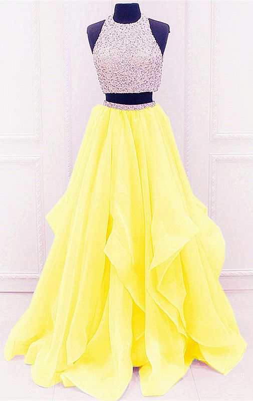 promo codes newest selection promo codes Sequined Beaded Top Organza Layered Prom Dresses Two Piece ...