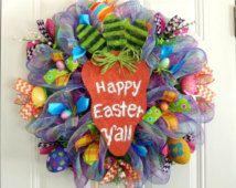 Deco mesh Easter Wreath Carrot wreath Spring mesh Wreath Happy Easter Door Hanger Hand painted Easter eggs Decoration Wall Front door decor