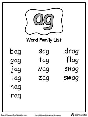 AG Word Family List   Worksheets, Free and Phonics