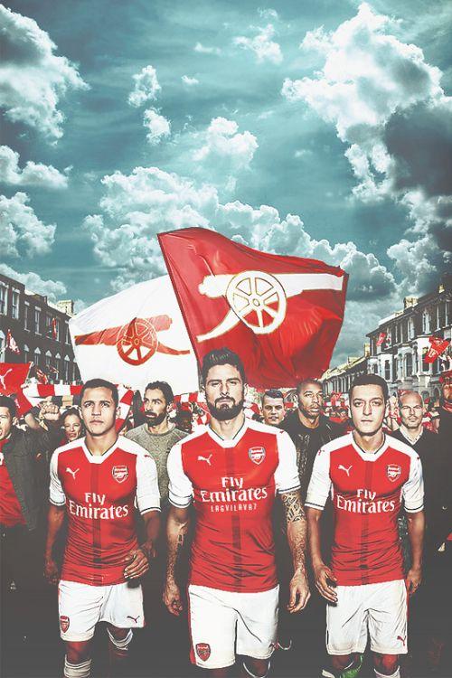 """New PUMA Arsenal Home Kit 2016/2017 Launch""   Alexis Sanchez, Olivier Giroud & Mesut Ozil"