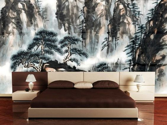 int rieur japonais d coration chambre arbres lit de. Black Bedroom Furniture Sets. Home Design Ideas