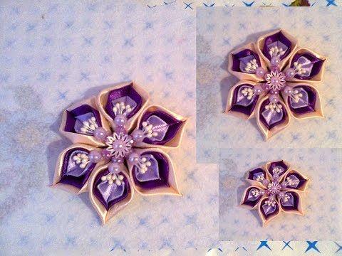 Цветок канзаши. Мастер класс. // Flower kanzashi. Master Class - YouTube