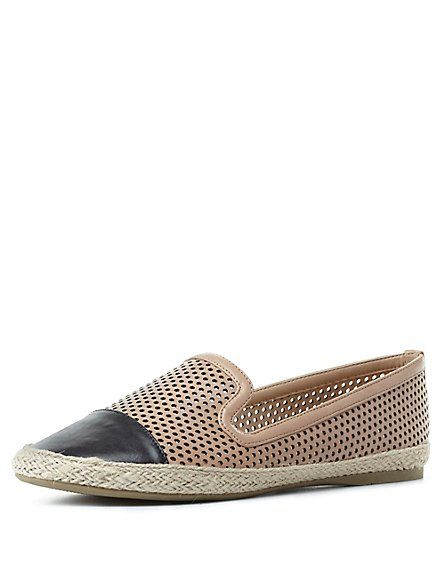 Perforated Cap-Toe Smoking Slipper Loafers