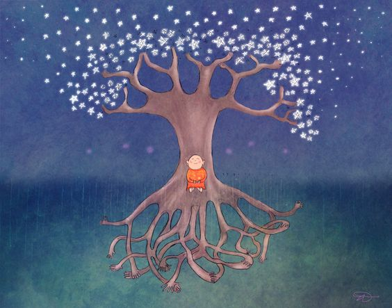 Budhha, aligné avec la terre et le ciel. Etre centré, entre en paix...!