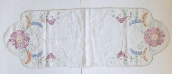 Vintage Linen Multi-Color Floral Crochet Border Table Runner Dresser Scarf EVC