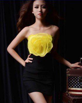 CD04382 Big flower wrapped chest evening dress tube top chiffon dress