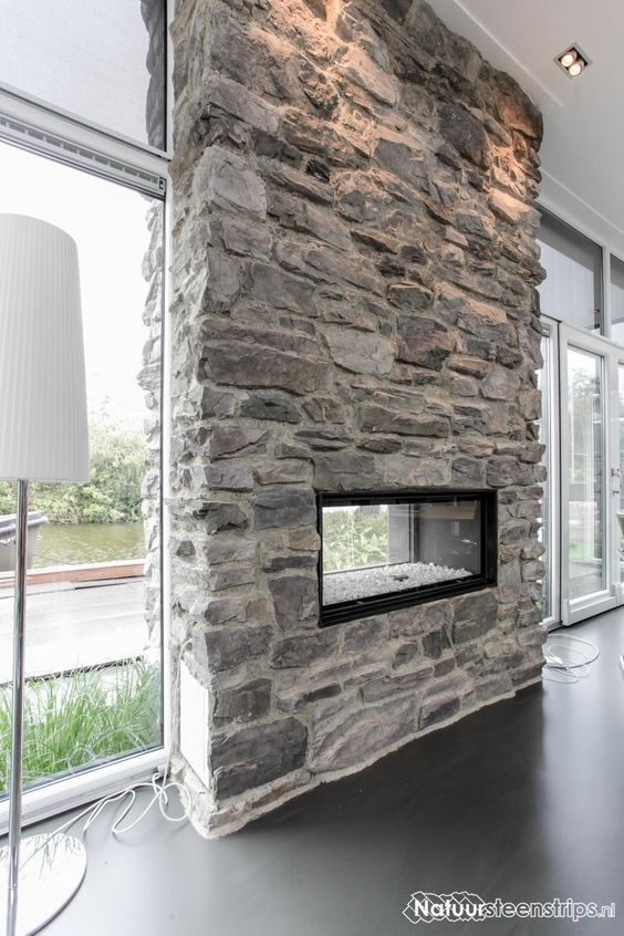 Tall Ceiling Pot Lights Fireplace Simple Stone Fireplace