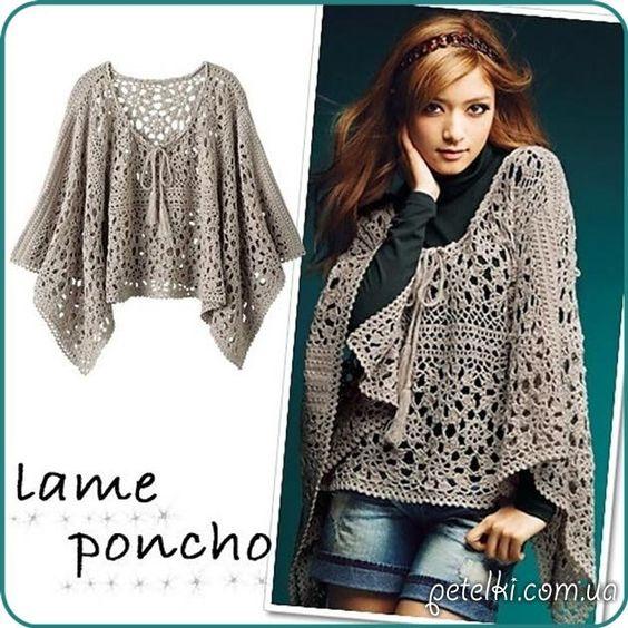 Crochet Lame Poncho ~ Diagrams/Charts Only ~ Not in English | Ажурное пончо из круглых мотивов. Схемы: