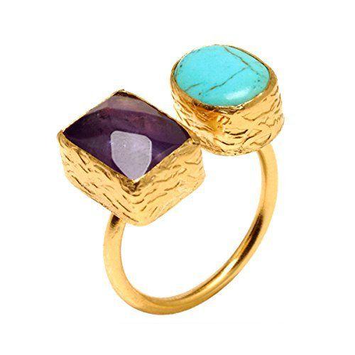 Turquoise and Magenta Ring by Tiklari