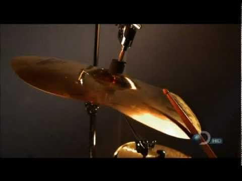 Snare & cymbal in super slow motion- really cool way to show how vibration and sound are connected.