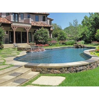 Semi-above ground swimming pool as in a lake feature.  Swimming Pool Design, Pictures, Remodel, Decor and Ideas - page 46