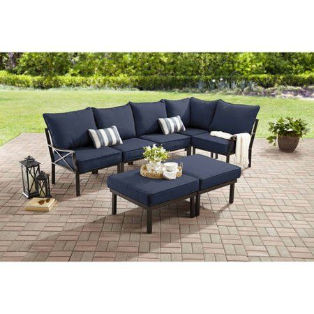 Mainstays Sandhill 7 Piece Metal Patio Furniture Sectional Set With Cushions And Pillows Walmart Com Metal Patio Furniture Sectional Patio Furniture Outdoor Sofa