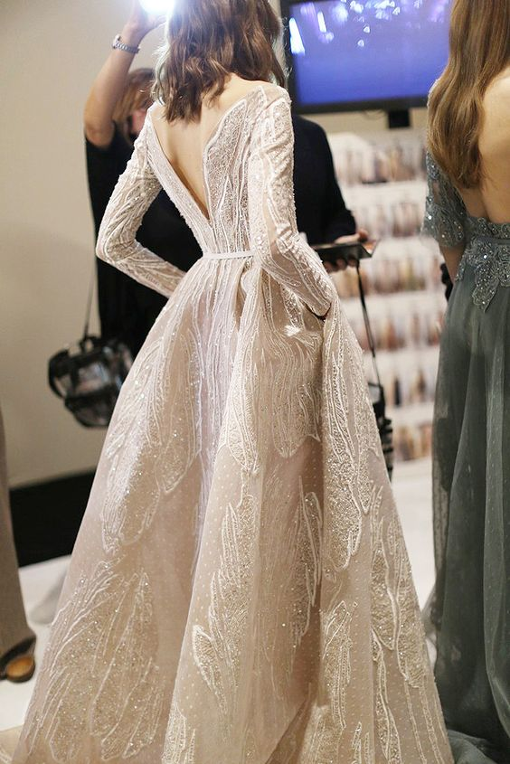 """Backstage at Elie Saab Haute Couture Spring 2015. """