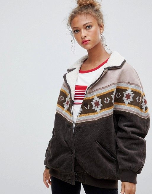 Pull Bear Cord And Borg Mix Jacket With Pattern Asos Jackets Coats Jackets Women Bear Jacket