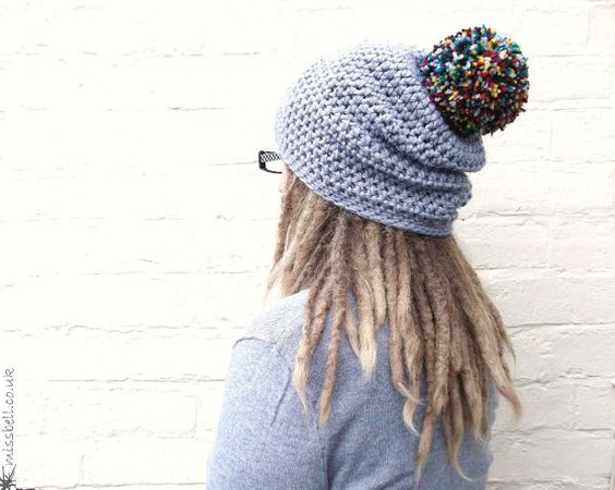 Pom pom hat winter bobble hat large baggy beanie by missbelluk, £25.00    look at dem' dreads.  Beautiful!