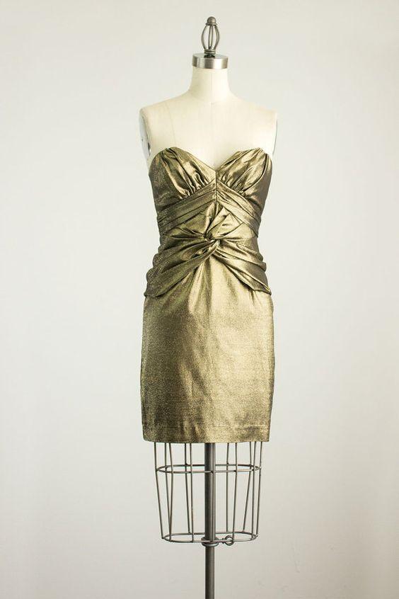 90 s vintage bretelles métalliques or Twist par ShopCherieVintage