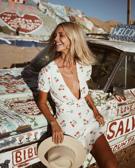 cherry dress at Salvation Mtn