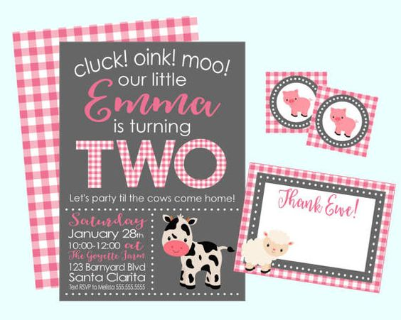 Cluck Oink Moo Farm Birthday Party Invitation. Pink Farm Party Invitation. Farm Second Birthday Invitation by LilacsAndCharcoal on Etsy