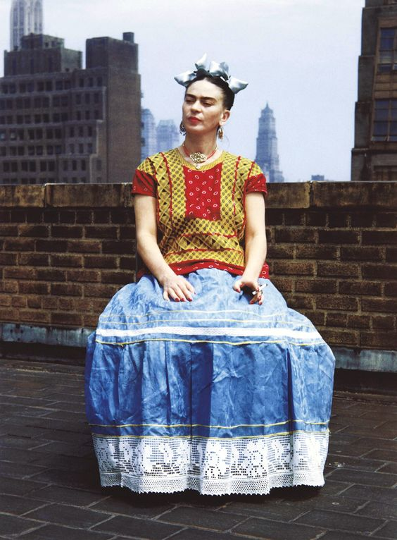 Frida Kahlo in NY.  Frida didn't choose just any dress as her trademark, she chose the traditional dress of the Tehuantepec Isthmus, a matriarchal society, uncommon in Mexican culture.  She chose a fashion symbol of powerful Mexican women, and emulated this strength in her art and her life.