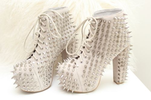 White Spiked Booties