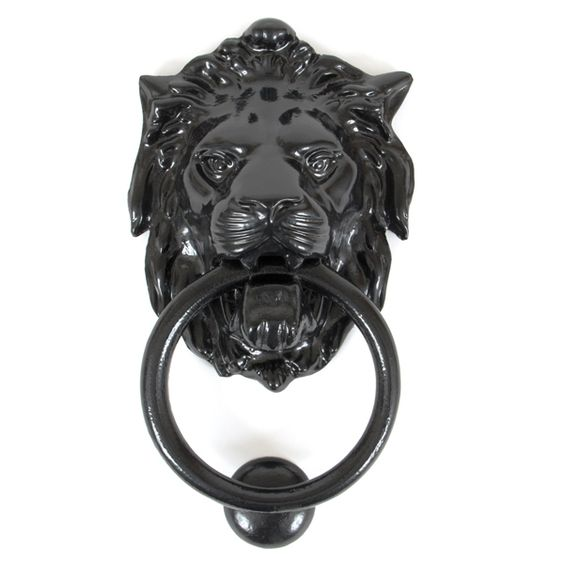 Regency Lions Head Door Knocker - This Regency Lions Head Door Knocker is cast from iron with a black finish. This knocker combines functionality, traditional looks and durability - it will enhance the look of any door and at the same time work as a sturdy fully functional knocker.