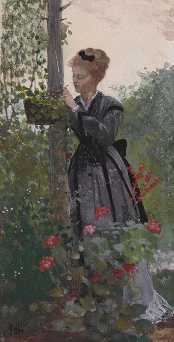 Homer, Winslow (b,1836)- Woman Gardening (Summer)