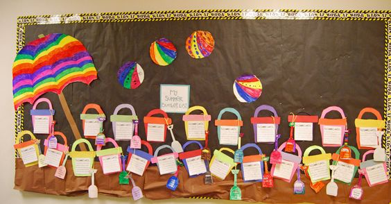 "This cute beach scene with student sand buckets and shovels is a fun idea for a summer bulletin board display. For this ""Our Summer Bucket Lists"" students write about what they would like to do doing their summer holidays."