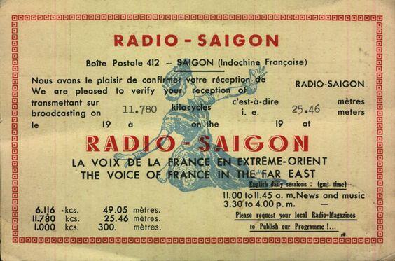 Qsl Card From Radio Saigon Of Voice Of France Old Time Radio Radio Cb Radio