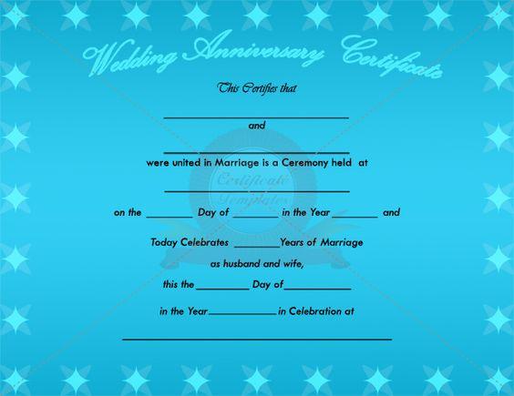 wedding anniversary certificate template anniversary