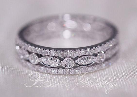Discount 3 Full Eternity Bands 14k White Gold Wedding Ring  Diamonds Ring/  Engagement Ring/ Promise Ring