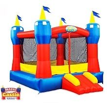 So, this one only holds up to 300 pounds so it's probably not the best for the bigger kids. But think of how much fun the little ones will have. If you're having a bunch of toddler parties this summer, could be fun! Blast Zone Magic Castle Bounce House  $299.99