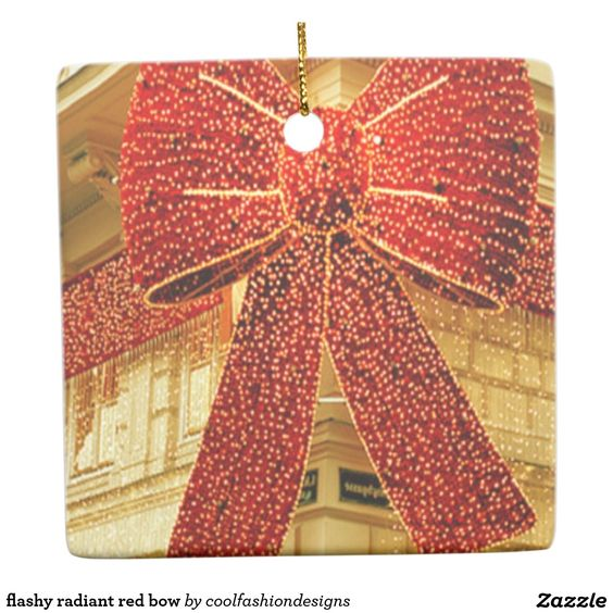 flashy radiant red bow square ornament