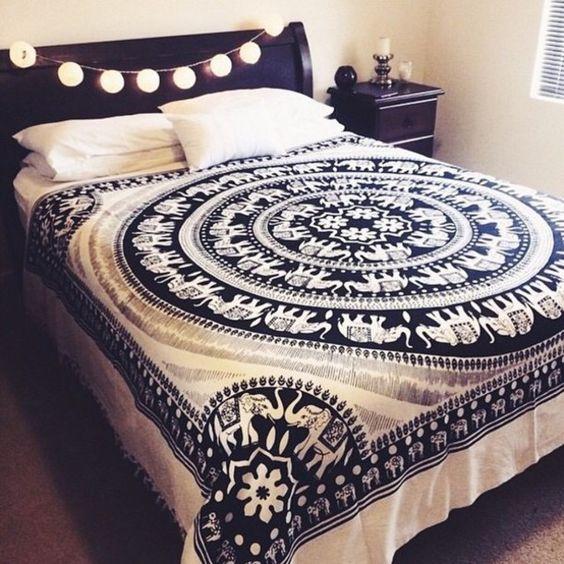 Black and White Elephant Mandala Fringed Tapestry Indian Bedding Bedspread - RoyalFurnish.com