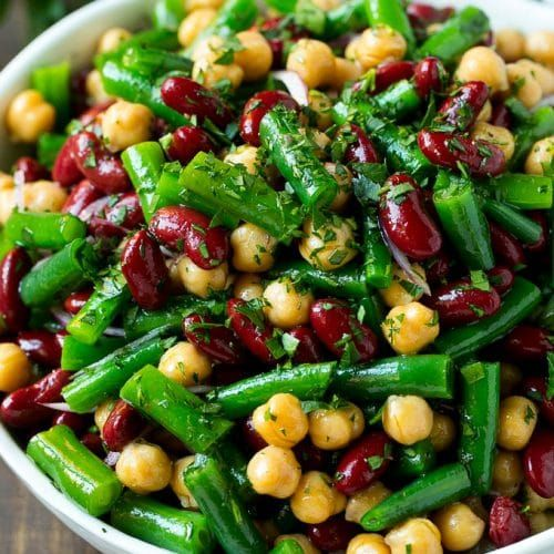 Three Bean Salad With Green Beans Garbanzo Beans And Kidney Beans In A Homemade Dressing Green Bean Dishes Bean Salad Recipes Healthy Recipes