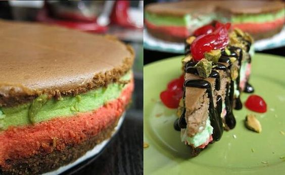 Almond, Chocolate, And Pistachio Spumoni Recipe — Dishmaps