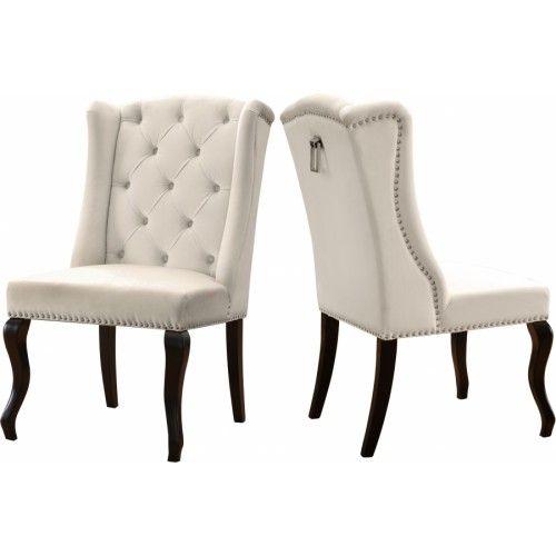 Cream Velvet Wing Back Tufted Dining Chair Set Of 2 Upholstered Dining Chairs Tufted Dining Chairs Velvet Dining Chairs