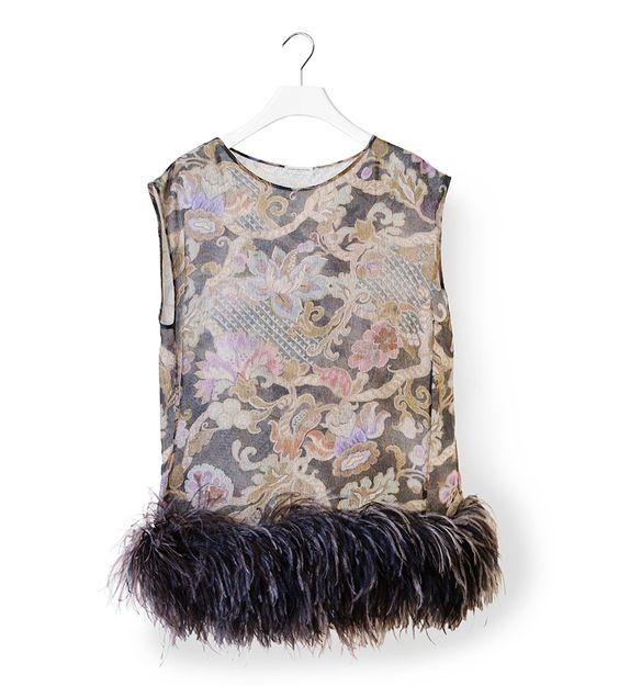 DRIES VAN NOTEN Cuzco sleeveless feather top