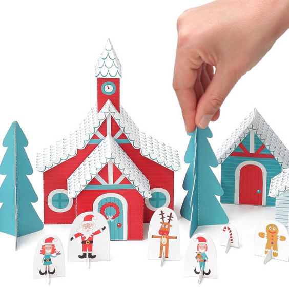 Christmas Paper Village - Holiday Toy - DIY Craft Kit Paper Toy