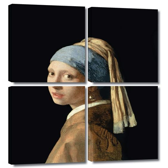 'Girl with a Pearl Earring' by Johannes Vermeer 4 Piece Painting Print Gallery-Wrapped on Canvas Set