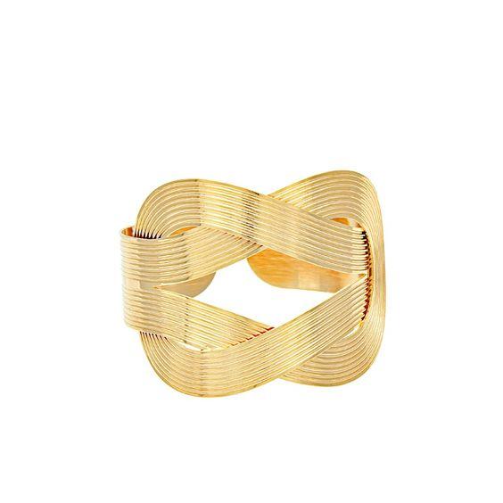 Bracelete entrelaçado banhado a ouro.
