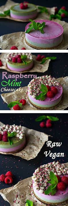 Raspberry Mint Cheesecakes with Cashew Cream Icing! Raw, Vegan and Gluten-Free!