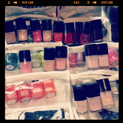 5/19, 10 AM: Nail polish heaven! Which color should we choose for fashion editor Rachael Wang's shoot today? #makingsept