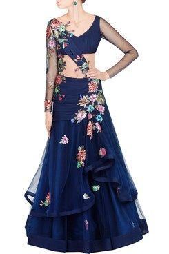 Featuring a navy blue layered net saree gown with multicoloured textured sequin and crystal floral applique embroidery all over. It has net insert on waist and sheer back. The details include chiffon under layer and side zip closure.