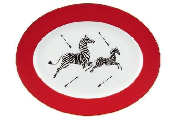 Zebra Collection Oval Platter