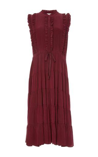 This **Ulla Johnson** sleeveless dress features a feminine ruffle detailing, an elastic waist, and a midi length sheath silhouette.