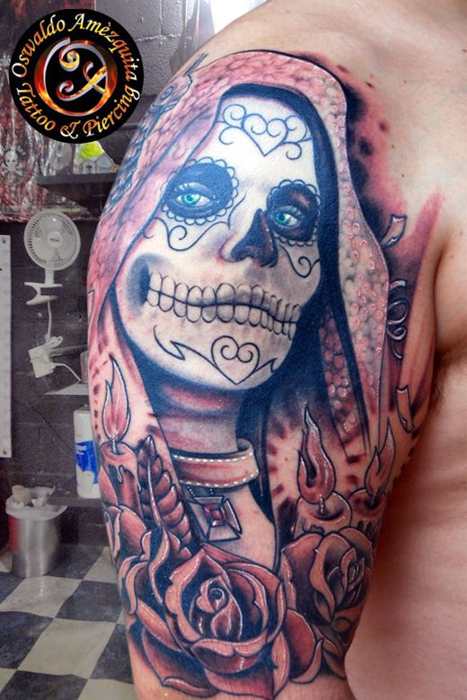 Tatuajes, Catrina, Virgen, Tatuaje Virgen, Tat Padre, Gris Tatuaje, Tatuajes Del CráNeo Del AzúCar, Skull Virgin, Tattoo Calavera