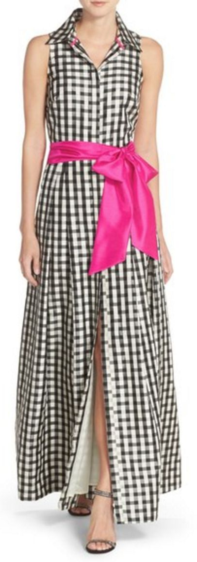 Woven Maxi Shirt-Dress in Black and White with Fuschia Bow