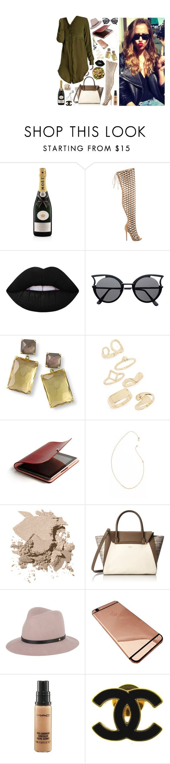 """Untitled #88"" by missamberleigh ❤ liked on Polyvore featuring MoÃ«t & Chandon, Lust For Life, Lime Crime, Ippolita, Topshop, blanca monrós gómez, Bobbi Brown Cosmetics, Vince Camuto, rag & bone and MAC Cosmetics"